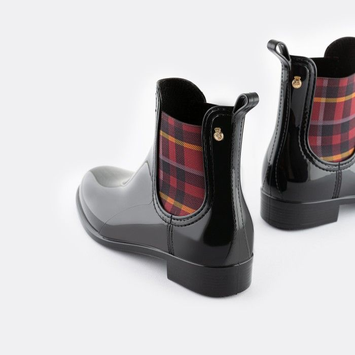 Lemon Jelly Vegan Green Ankle Boots w/ Tartan Elastic ARLEENE 06