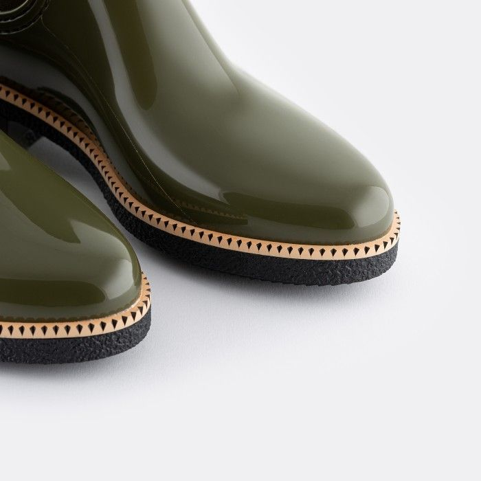 Lemon Jelly Vegan Military Green Ankle Boots with Low Heel AVA 13