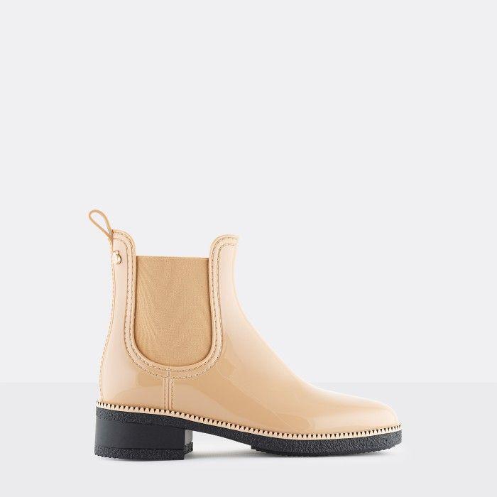 Lemon Jelly Vegan Beige Ankle Boots with Low Heel AVA 14