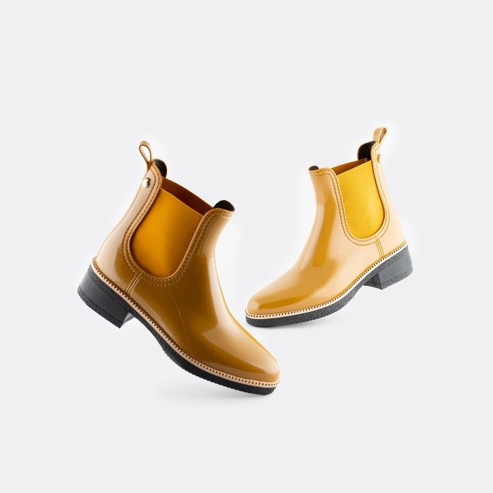 Lemon Jelly Vegan Yellow Ankle Boots with Low Heel AVA 16