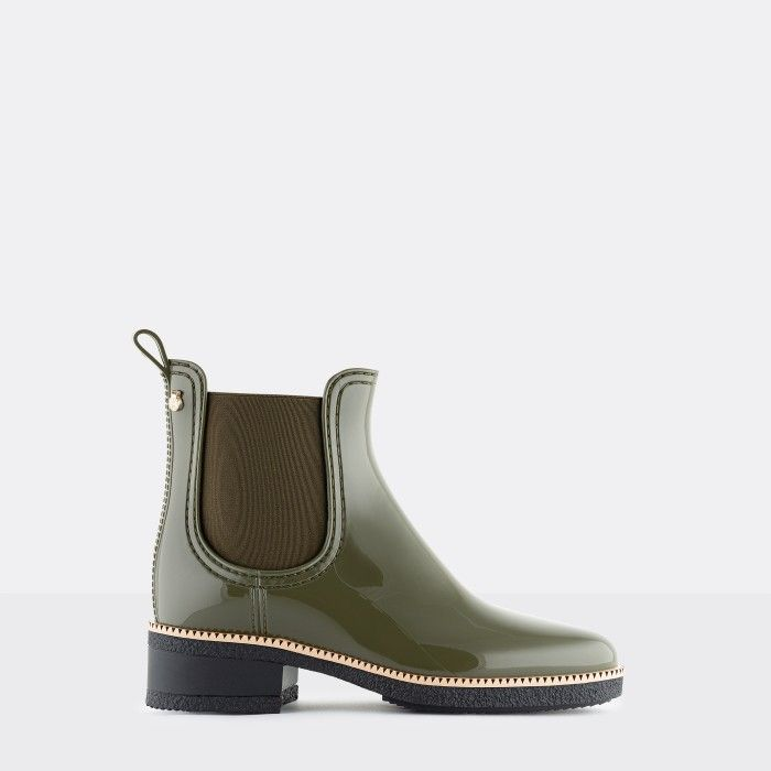 Lemon Jelly Vegan Green Ankle Boots with Low Heel WARM AVA 07