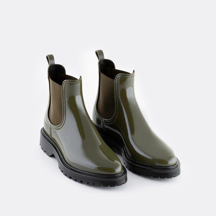 Lemon Jelly Women's Vegan Military Green Ankle Boots BLOCK 18