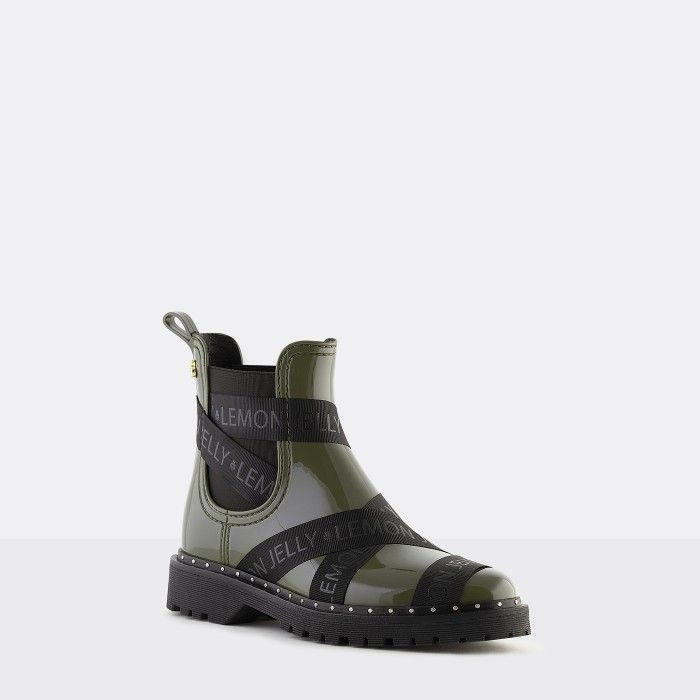 Lemon Jelly Vegan Green Ankle Boots with Straps FRANKIE 06