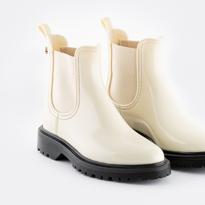 Lemon Jelly | Botins Femininos de Chuva Beges Vegan BLOCK 19