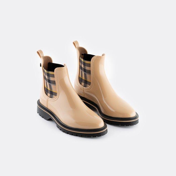 Lemon Jelly Vegan Beige Ankle Boots w/ Tartan Elastic DEVANA 07