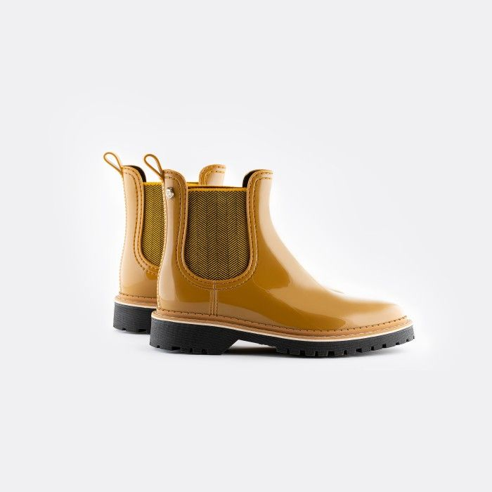 Lemon Jelly Vegan Yellow Ankle Boots w/ Texture Elastic LAKISHA 02
