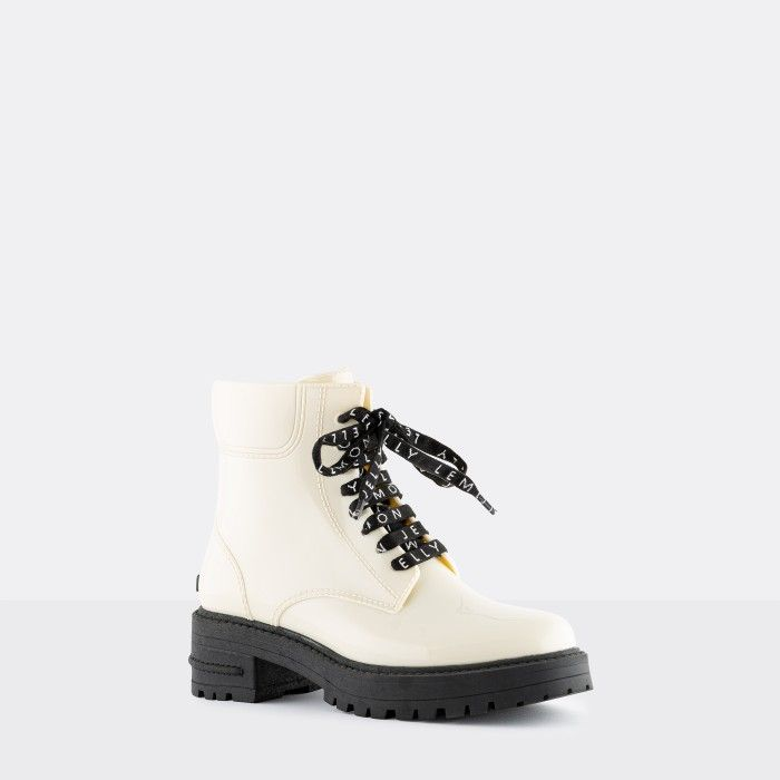 Lemon Jelly Women's Vegan Beige Low Combat Boots CAILYN 08