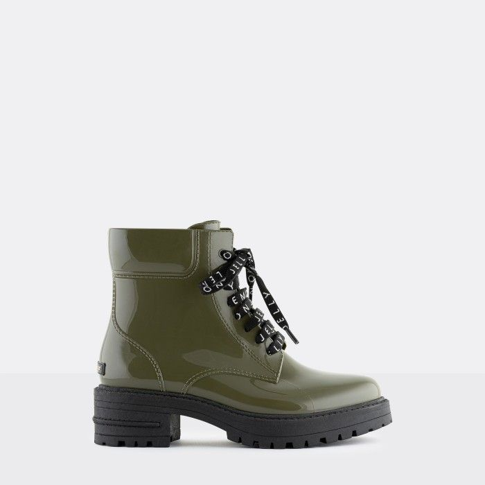Lemon Jelly Women's Vegan Green Low Combat Boots CAILYN 09