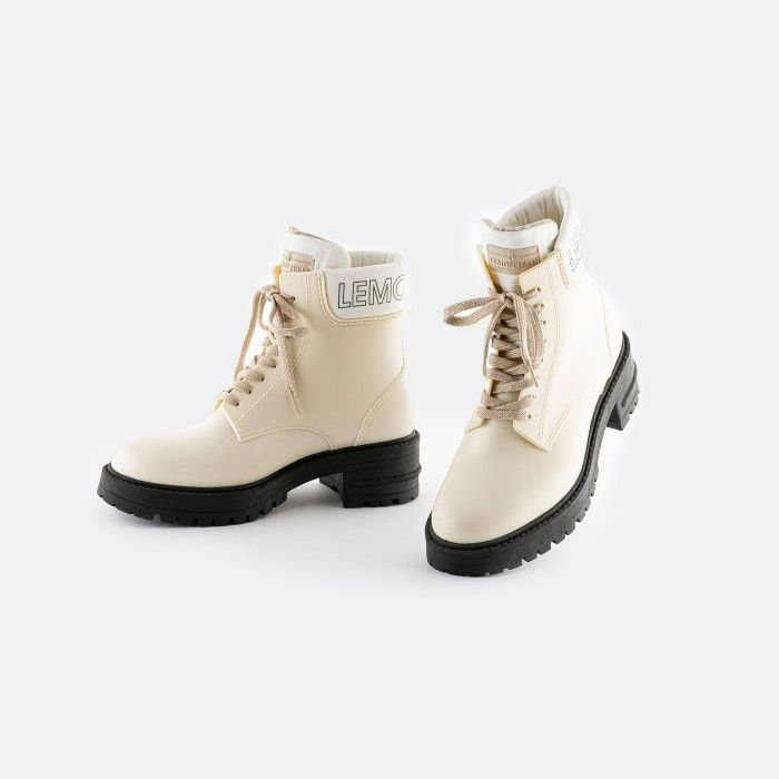 Lemon Jelly Women's Vegan Beige Low Combat Boots RITTA 06