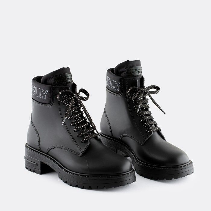 Lemon Jelly Women's Vegan Black Low Combat Boots RITTA 05