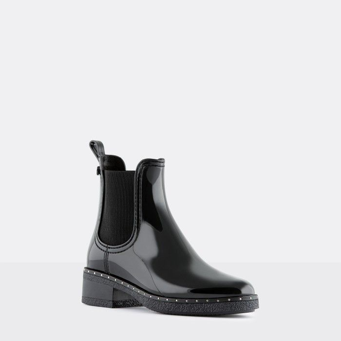 Lemon Jelly Vegan Black Ankle Boots with Studs CANDISS 01