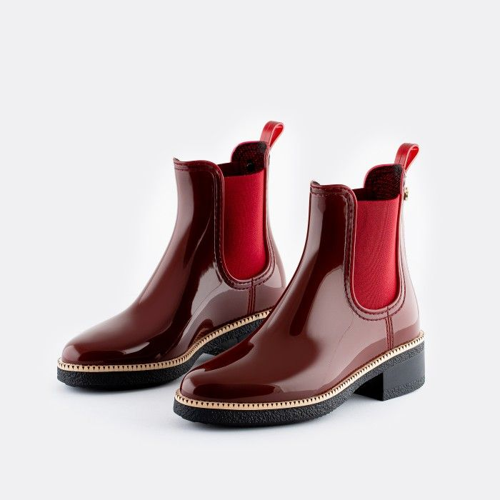 Lemon Jelly Vegan Bordeaux Ankle Boots with Low Heel AVA 15