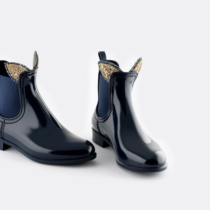 Lemon Jelly Vegan Blue Rain Ankle Boots for Girl  FAUN 16