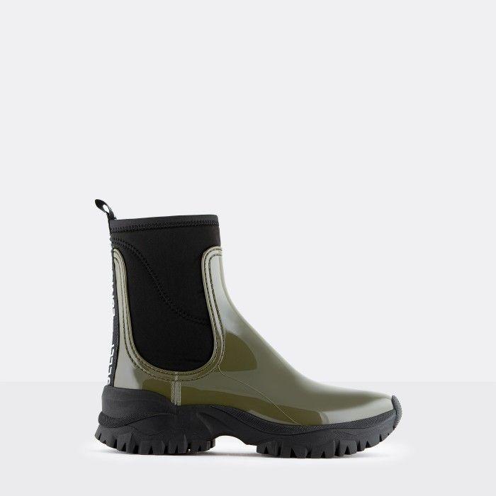 Lemon Jelly Vegan Sporty Green Ankle Boots w/ Neoprene CHERYL 04