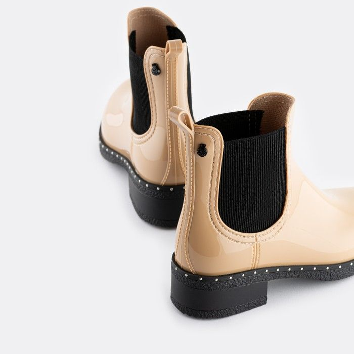 Lemon Jelly Vegan Beige Ankle Boots with Studs CANDISS 02