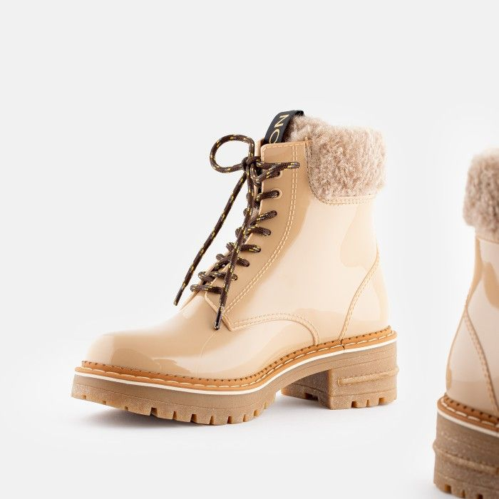 Lemon Jelly Vegan Beige Low Boots with Synthetic Fur OLETA 02