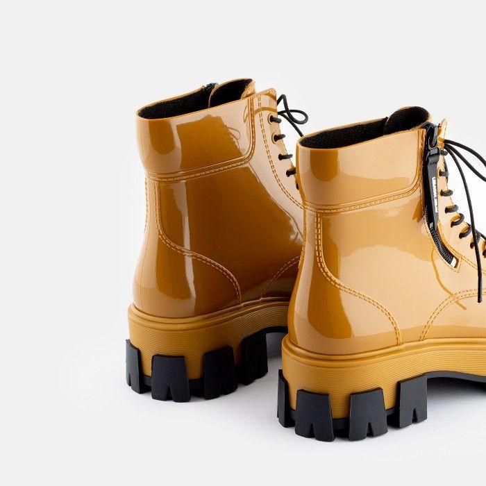 Lemon Jelly Women's Vegan Yellow Low Boots with Zip RAINA 02