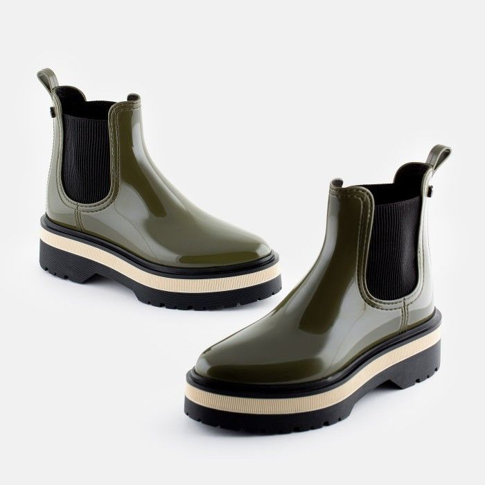 Lemon Jelly Women's Vegan Green Low Boots with Platform NETTY 04