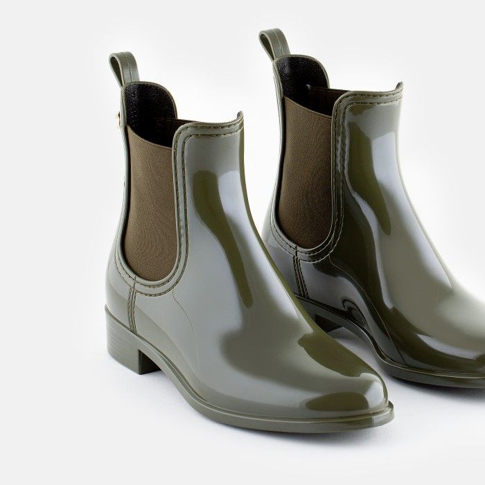 Lemon Jelly Women Vegan Military Green Rain Ankle Boots COMFY 42