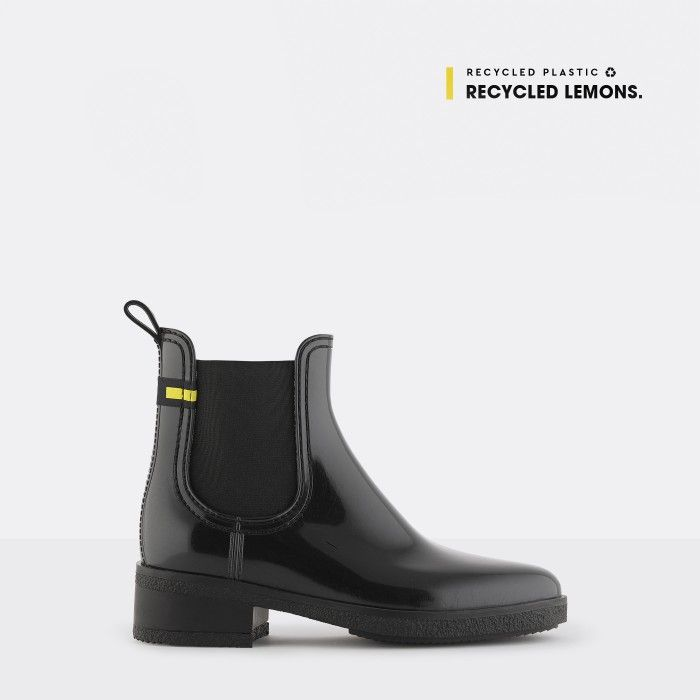 Lemon Jelly | Black Recycled Ankle Boots with Heel LINDSEY 01