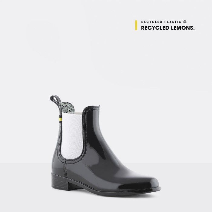 Lemon Jelly | Black Recycled Boots Chelsea Style Women BRISA 01