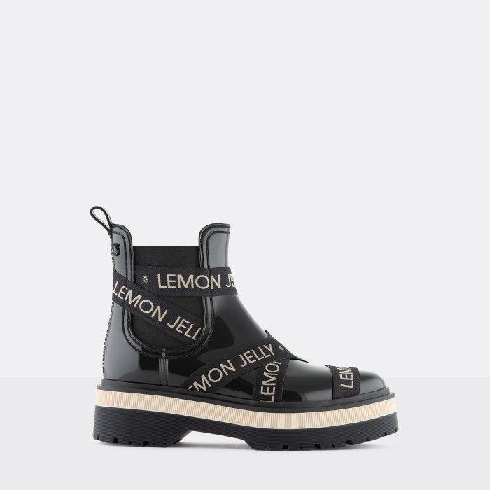 Lemon Jelly Platform Black Low Boots w/ White Straps FRANCESCA 03
