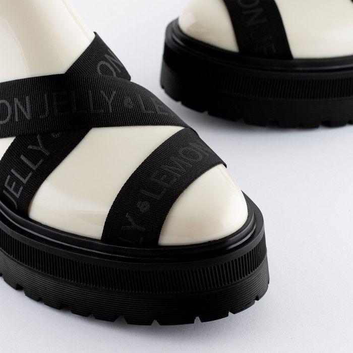 Lemon Jelly Platform White Low Boots with Straps FRANCESCA 02