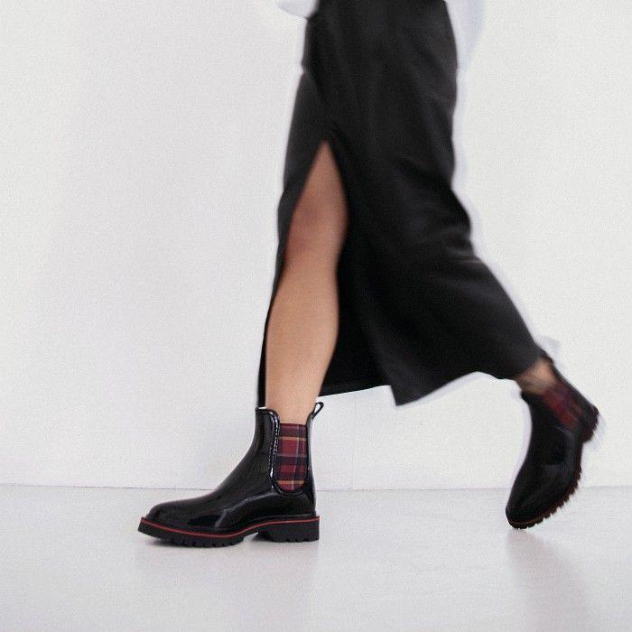 Lemon Jelly Vegan Black Ankle Boots w/ Tartan Elastic DEVANA 06