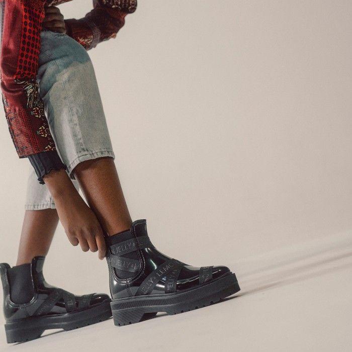 Lemon Jelly Platform Black Low Boots with Straps FRANCESCA 01