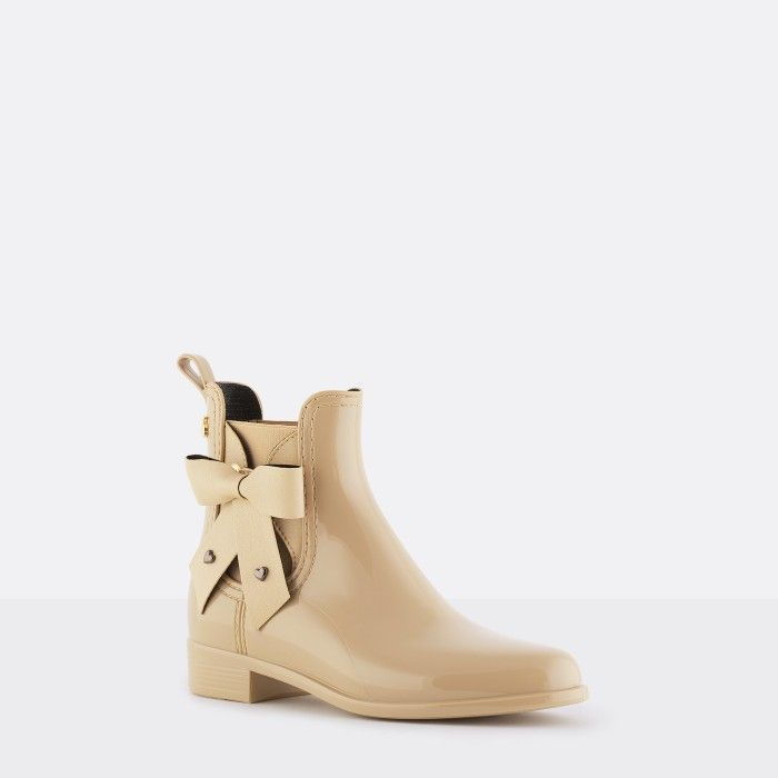 Lemon Jelly | Beige Vegan Rain Boots with Bow BREANNA 06