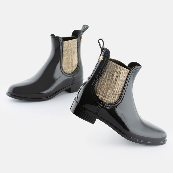 Lemon Jelly | Black Rain Boots with Gold Elastic GRETE 01