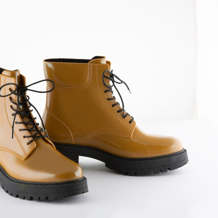 Lemon Jelly | Mustard Yellow Combat Rain Boots CAILYN 05
