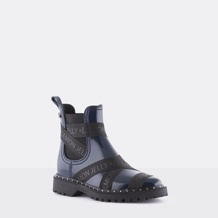 Lemon Jelly Vegan Navy Blue Ankle Boots with Straps FRANKIE 09