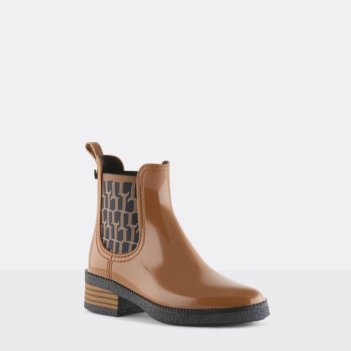 Lemon Jelly Vegan Brown Ankle Boots w/ Pattern Elastic TESSA 04