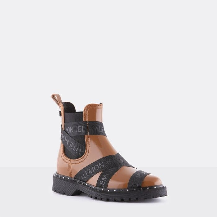 Lemon Jelly Vegan Brown Ankle Boots with Straps FRANKIE 10