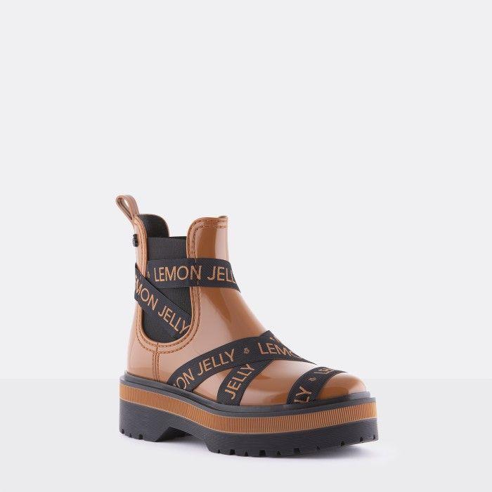 Lemon Jelly Platform Brown Low Boots with Straps FRANCESCA 06