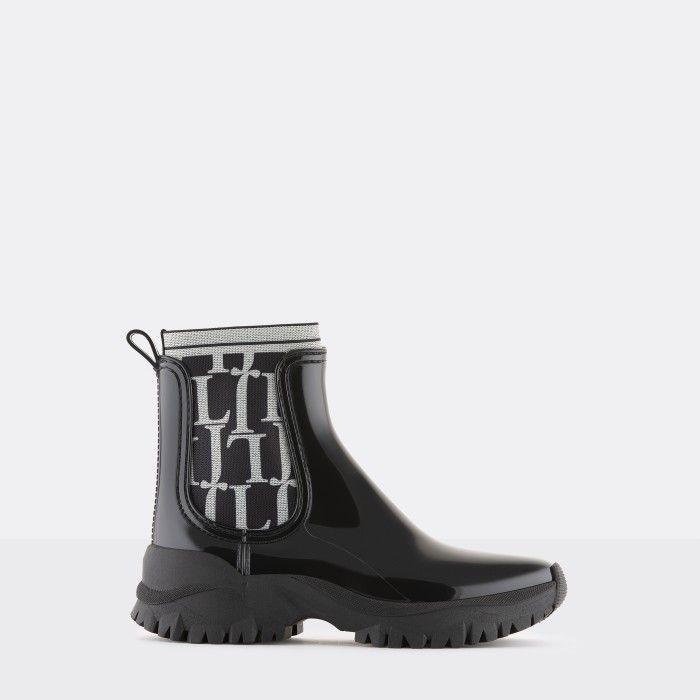 Lemon Jelly Sporty Black Ankle Boot w/ Pattern Elastic ELLIOT 01