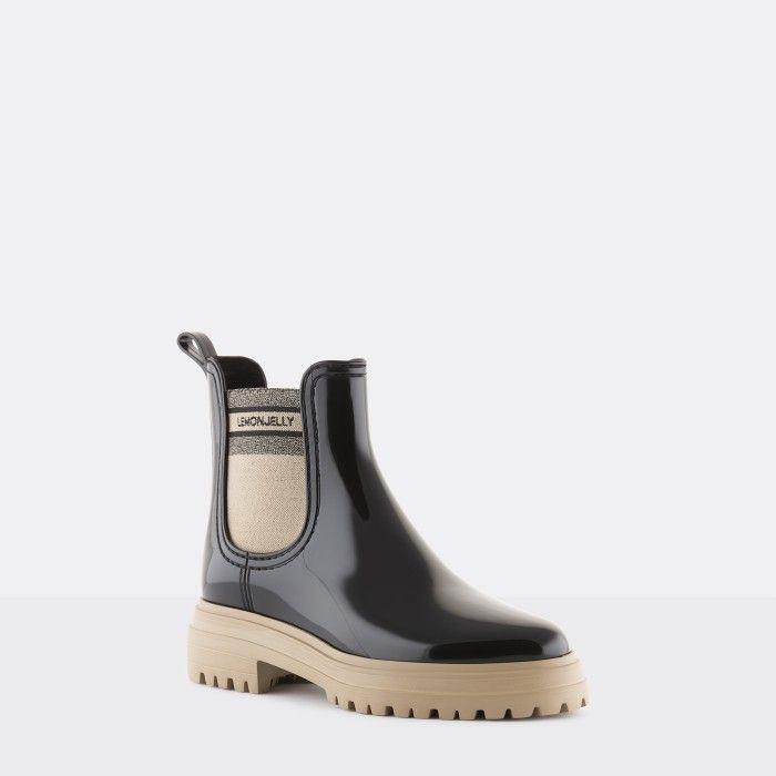 Lemon Jelly Super Light Black Rain Boots for Woman FLOW 01