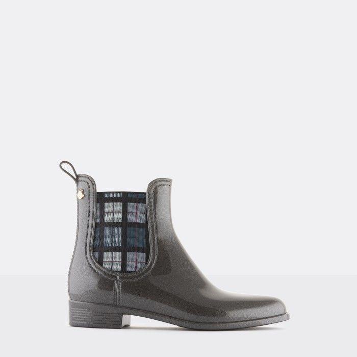 Lemon Jelly Vegan Grey Ankle Boots w/ Tartan Elastic ELIANA 03