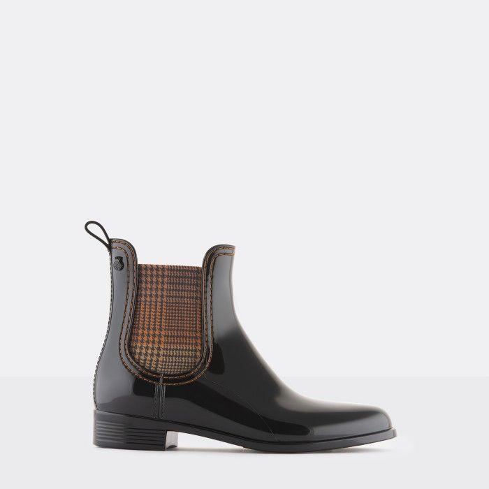 Lemon Jelly Vegan Black Ankle Boots w/ Tartan Elastic BETH 01