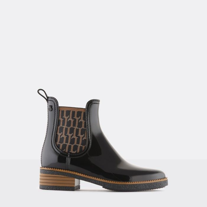 Lemon Jelly Vegan Black Ankle Boots w/ Pattern Elastic TESSA 01
