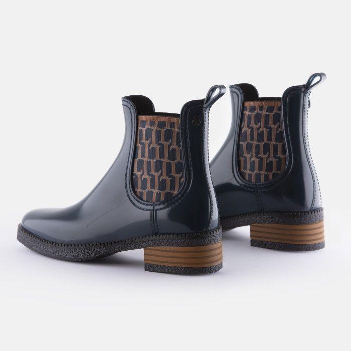 Lemon Jelly Vegan Blue Ankle Boots w/ Pattern Elastic TESSA 02
