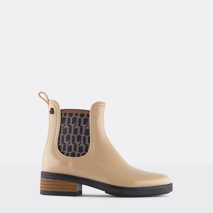 Lemon Jelly Vegan Beige Ankle Boots w/ Pattern Elastic TESSA 05