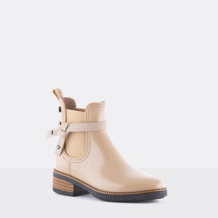 Lemon Jelly | Beige Vegan Rain Boots with Knot JOSEPHINE 04