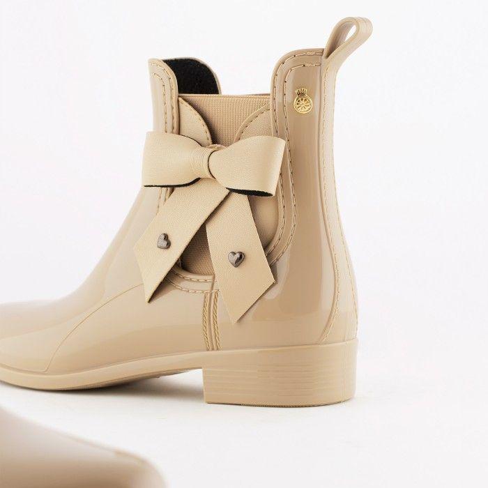 Lemon Jelly | Beige Vegan Rain Boots with Bow BREANNA 06