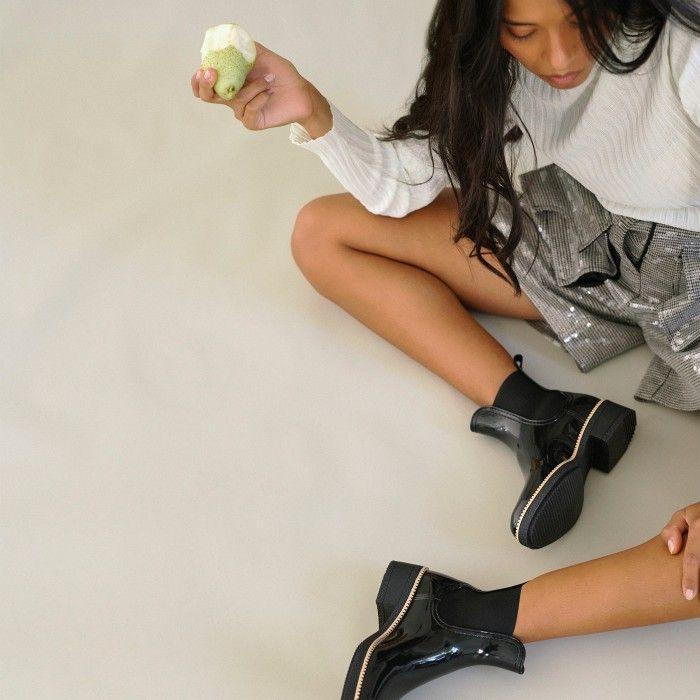 Lemon Jelly | Black Ankle Rain Boots with Heel | Women AVA 01