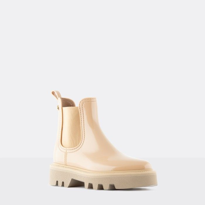 Lemon Jelly Botas Cano Curto com Sola Super Leves Beges ROXIE 03