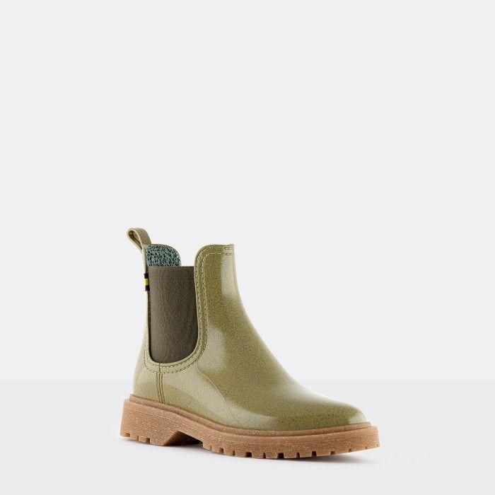 Lemon Jelly Women's Vegan Recycled Green Ankle Boots MAREN 06
