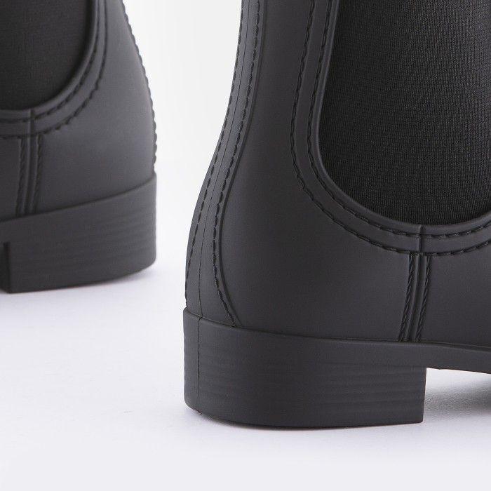 Lemon Jelly Vegan Black Matte Chelsea Rain Boots SPLASH 01