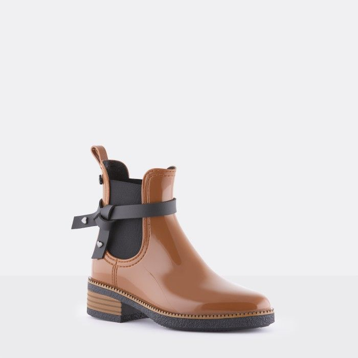 Lemon Jelly | Brown Vegan Rain Boots with Knot JOSEPHINE 03